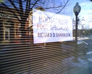 Sign in podiatrist window