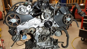 Audi engine with replaced parts